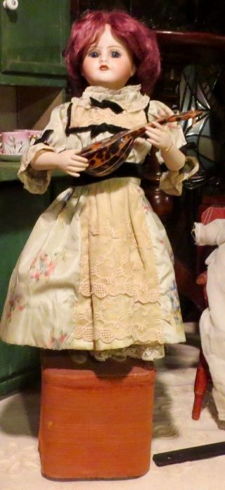 "Antique 19 "" French Limoges Doll Roulet Decamps Automaton W/banjo,  Great"