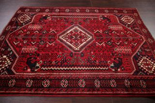 Vintage Geometric Tribal Dynasty Persepolis Abadeh Area Rug Hand - Knotted Red 6x8
