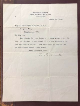 Theodore Roosevelt Signed Personal Letter 1898 Assistant Secretary Of Navy Rare