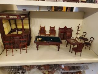 Bespaq Dollhouse Furniture,  Game Room Bar And Billard Set Side Table And Chairs