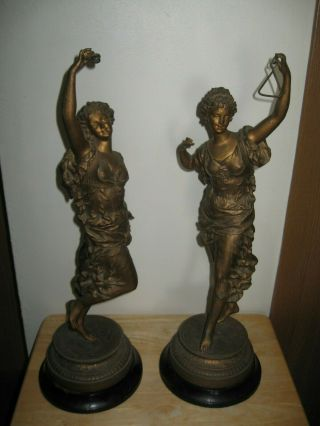 "Two Vintage Ernest Rancoulet Bronze Sculpture Statues,  22 "" Tall."