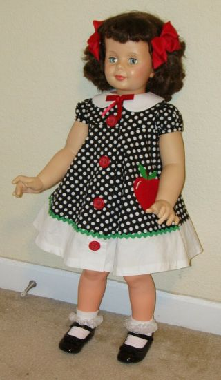 """Vintage Ideal 35 """" Curly Brunette Babyface Patti Playpal Doll W/red Eyelashes"""