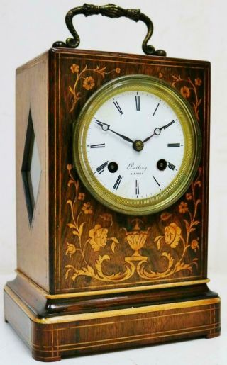 Antique French Empire 8 Day Bell Striking Marquetry Inlaid Officers Mantel Clock