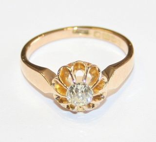 Antique 18ct Gold 0.  33cts Diamond Solitaire Engagement Ring Circa 1910/11 Size M