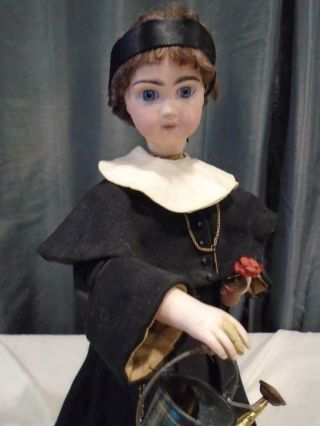 Antique French Tete Jumeau Bisque Doll Automaton Nun Flower & Watering Can