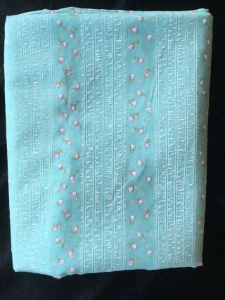 Vtg Flocked Semi Sheer Baby Blue Fabric 6 Yards X 44 Floral Petite Roses Buds
