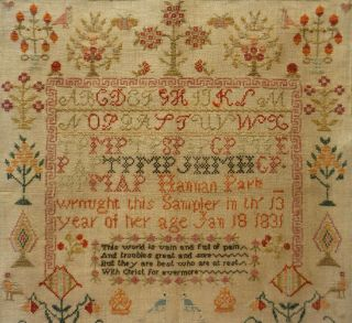 EARLY 19TH CENTURY RED HOUSE,  MOTIF & VERSE SAMPLER BY HANNAH PARK AGE 11 - 1831 10