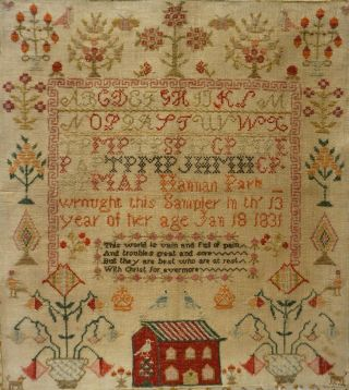 EARLY 19TH CENTURY RED HOUSE,  MOTIF & VERSE SAMPLER BY HANNAH PARK AGE 11 - 1831 11
