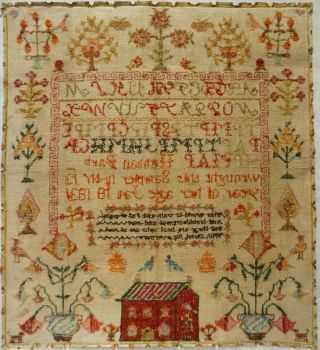 EARLY 19TH CENTURY RED HOUSE,  MOTIF & VERSE SAMPLER BY HANNAH PARK AGE 11 - 1831 12