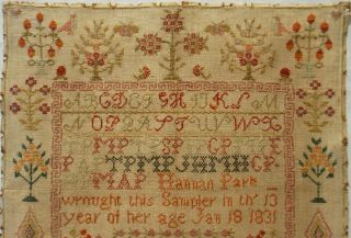 EARLY 19TH CENTURY RED HOUSE,  MOTIF & VERSE SAMPLER BY HANNAH PARK AGE 11 - 1831 2