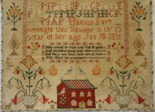 EARLY 19TH CENTURY RED HOUSE,  MOTIF & VERSE SAMPLER BY HANNAH PARK AGE 11 - 1831 3