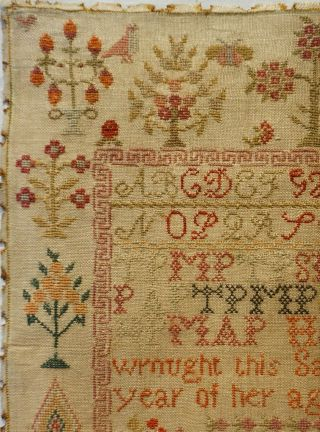 EARLY 19TH CENTURY RED HOUSE,  MOTIF & VERSE SAMPLER BY HANNAH PARK AGE 11 - 1831 4