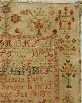 EARLY 19TH CENTURY RED HOUSE,  MOTIF & VERSE SAMPLER BY HANNAH PARK AGE 11 - 1831 5