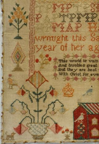 EARLY 19TH CENTURY RED HOUSE,  MOTIF & VERSE SAMPLER BY HANNAH PARK AGE 11 - 1831 6