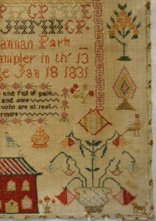 EARLY 19TH CENTURY RED HOUSE,  MOTIF & VERSE SAMPLER BY HANNAH PARK AGE 11 - 1831 7