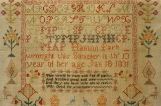 EARLY 19TH CENTURY RED HOUSE,  MOTIF & VERSE SAMPLER BY HANNAH PARK AGE 11 - 1831 8