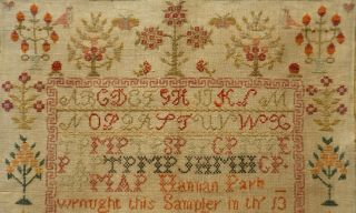 EARLY 19TH CENTURY RED HOUSE,  MOTIF & VERSE SAMPLER BY HANNAH PARK AGE 11 - 1831 9