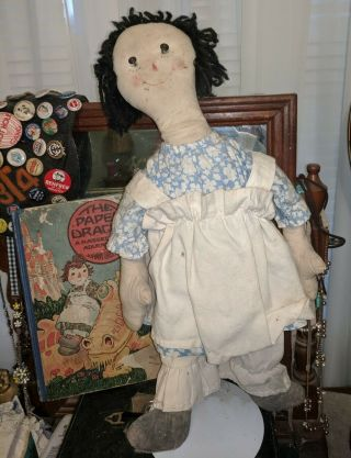 Lovely Antique P.  F.  Volland Cottage Raggedy Ann 1918 - 1919 18 Inches & Book
