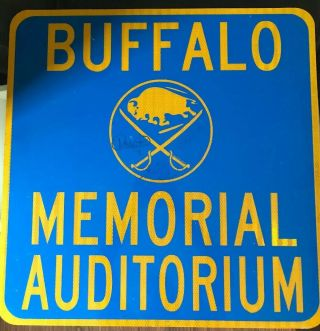 Vintage Buffalo Memorial Auditorium Sign Autographed French Con Sabres Rare
