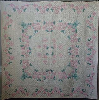Grand Marie Webster Dogwood Blossoms In Baskets Applique Quilt 86x85 ""