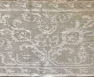 Rare 17th Century Italian Linen Cutwork Drawn Thread Embroidery 367