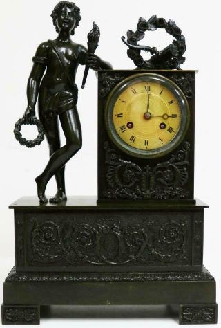 Majestic Antique French Empire Patinated Solid Bronze Figural Mantel Clock