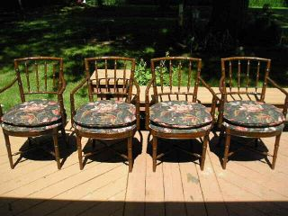 4 Drexel Heritage Chinoiserie Faux Bamboo Dining Arm Chairs