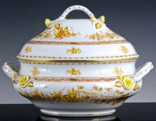 Huge Herend Hungary Yellow Indian Basket Soup Tureen Bowl W Applied Roses