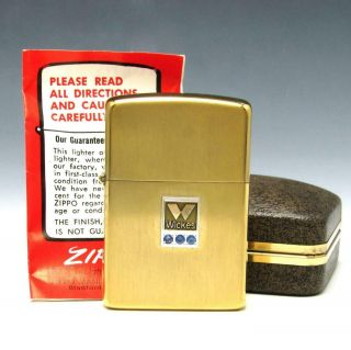 Mib Vintage 10k Gold Filled Brush Zippo Lighter W/ Solid 10k Gold Wickes Emblem