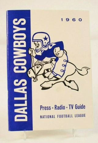1960 Dallas Cowboys Press Radio Tv Media Guide Nfl Vintage Football Tom Landry