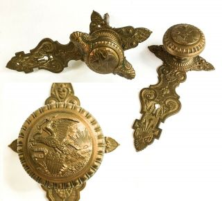 Unusual Antique 1868 Eagle And Shield Bronze Door Knobs,  Illinois State Capitol