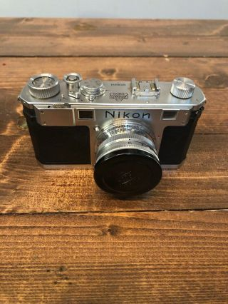 Vintage Nikon 35mm Rangefinder Film Camera With Box & Lens