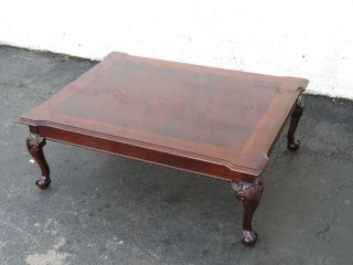 Flame Mahogany Ball And Claw Feet Vintage Coffee Table 9505a