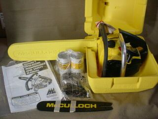 Wow Nos Vintage Mcculloch 110 Chainsaw Complete Case Oil Bars Chains Never Ran