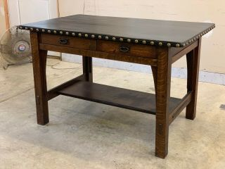 Gustav Stickley Leather - Top Library Table -