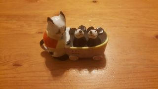Antique Mickey Mouse Like Salt & Pepper Shakers With A Putzi The Cat Sugar Bowl
