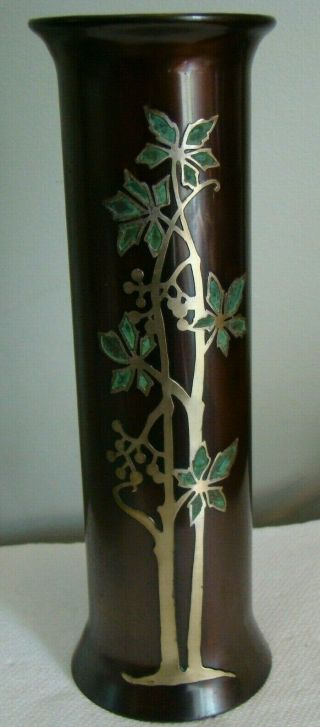"Otto Heintz Arts & Crafts Sterling On Bronze Silver Vase Green Leafs 9 - 1/2 "" Tall"