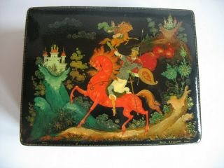 Vintage Soviet Russian Lacquered Palekh Hand Painted Box 1983 Signed Ussr