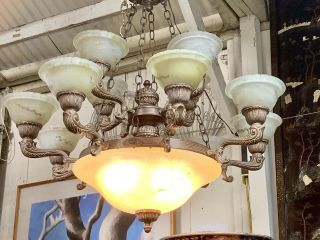 Large Vintage Multiple Lights Alabaster Chandelier