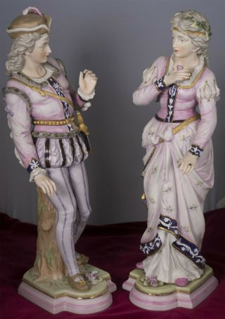 Lovely Bisque Couple French? Or Italian? Or English? Figurines Early To Pre 1900