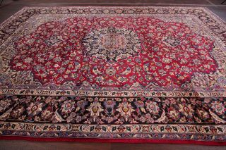 Vintage Traditional Floral Red Area Rug Hand - Knotted Living Room 10x13