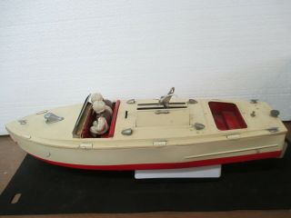 Vintage Lionel Craft Speed Boat Wind - Up Chris - Craft Metal Boat W/key & Drivers