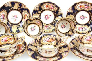 Antique Coalport Set Of Six Cup And Saucer Hand Painted Flowers Circa 1825