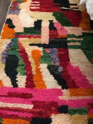"Vintage Moroccan Rug Wool Authentic Ben Ourain Carpet 4x 6 Feet,  52""x 73"""