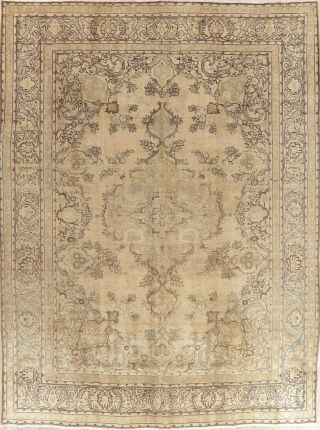 Oriental Distressed Medallion Wool Area Rug Hand - Knotted Floral Carpet 10 X 12