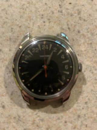 Rare Vintage Wakmann 24 Hour Watch 17 Jewels.  Hand Crafted,  Marked 7.  No Band