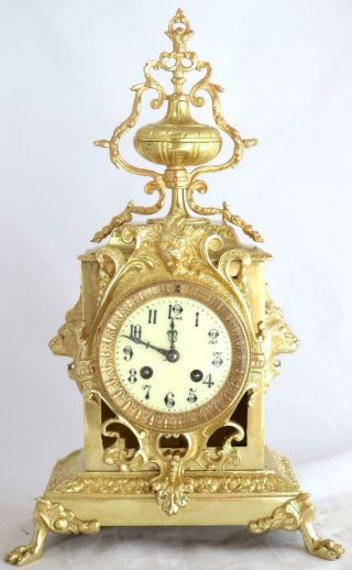 Antique Mantle Clock Lovely French Embossed Bronze Bell Striking C1880