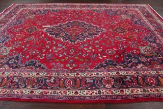 Vintage Traditional Floral Red Kashmar Area Rug Hand - Knotted Wool Carpet 8x11