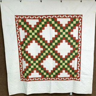 Early C 1870s Pa Irish Chain Quilt Antique Mustard Yellow Quilting