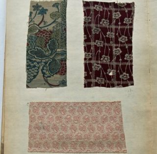 1870s Japanese Fabric Sample Book : Western Printed Cotton,  Indian Chintz,  Batik
